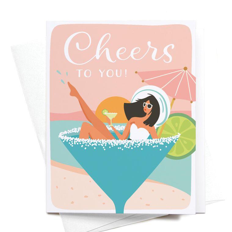 Cheers to You! Martini Girl Greeting Card