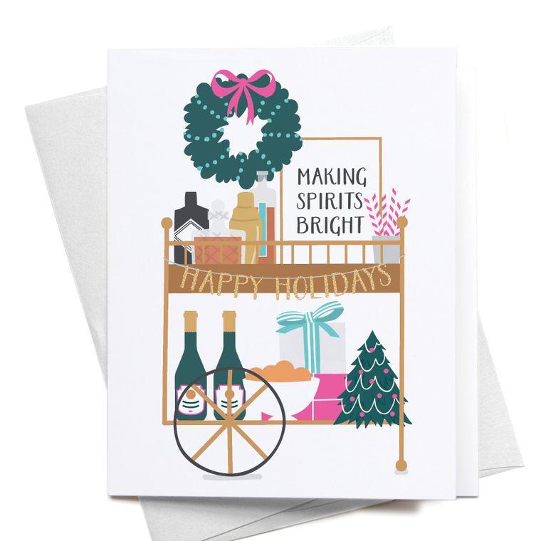 Christmas Liquor Bar Cart Greeting Card