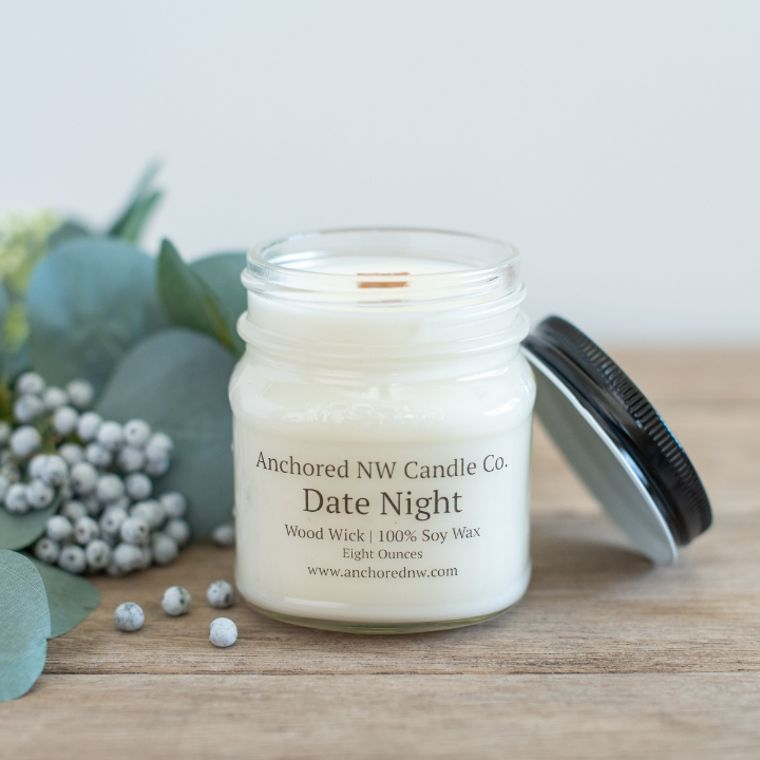 Mason Jar Soy Candle - Date Night (8 oz.)