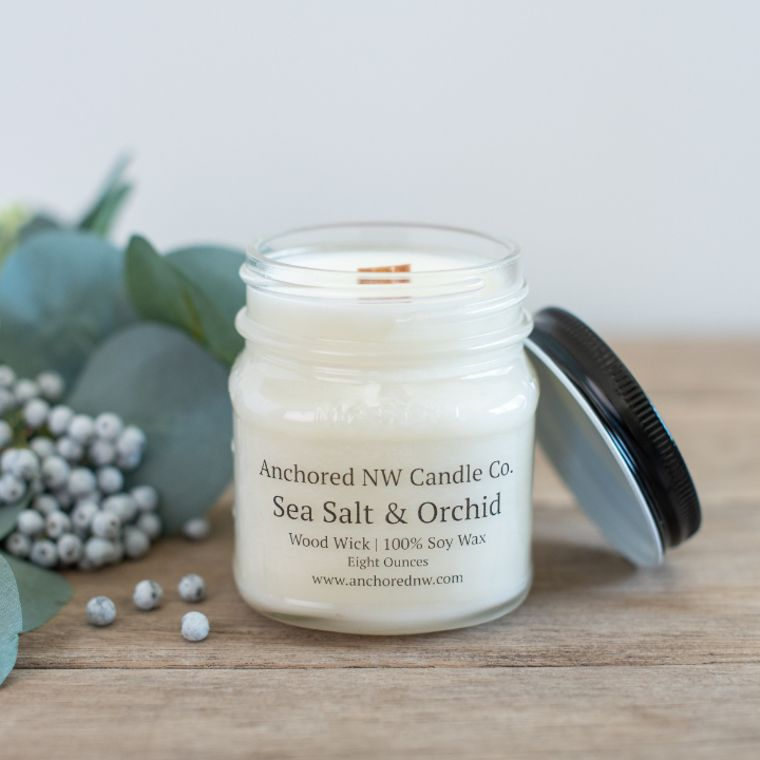 Mason Jar Soy Candle - Sea Salt & Orchid (8 oz.)