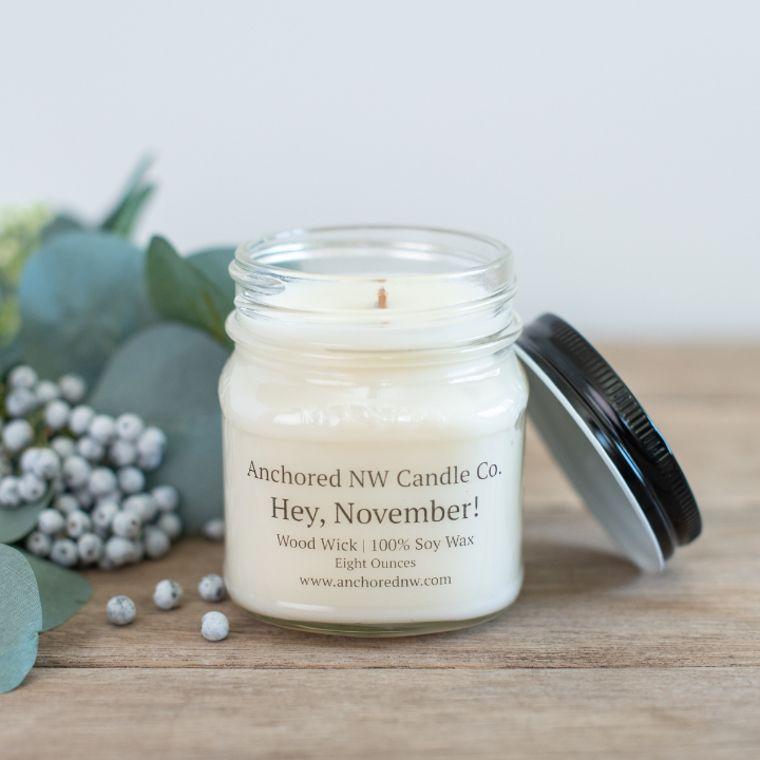 Mason Jar Soy Candle - Hey, November! (8 oz.)