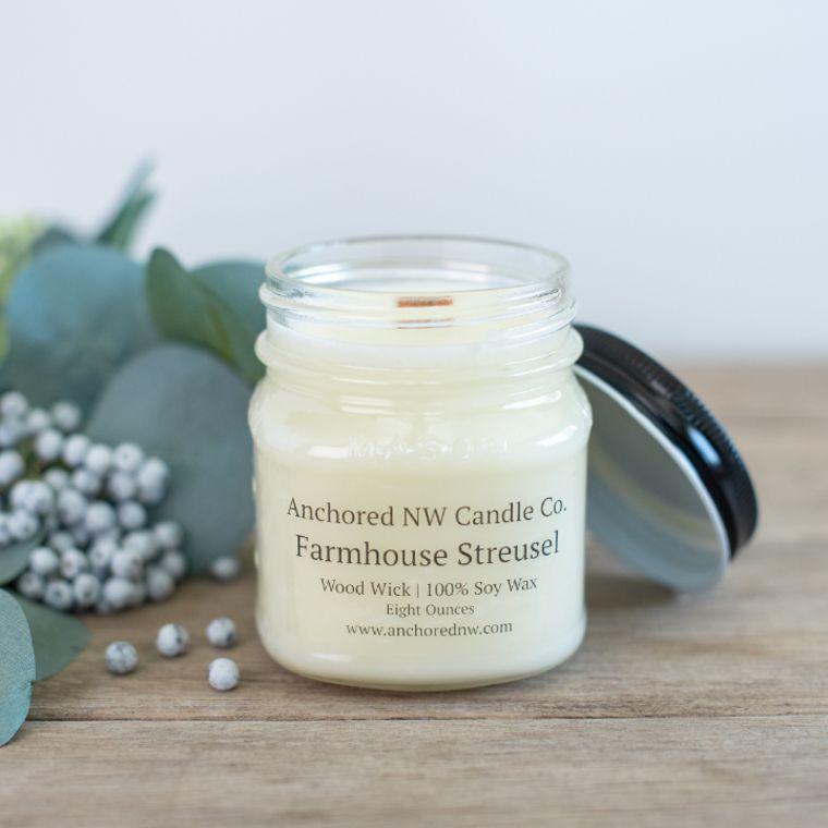 Mason Jar Soy Candle - Farmhouse Streusel (8 oz.)