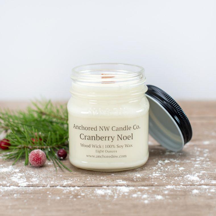 Mason Jar Soy Candle - Cranberry Noel (8 oz.)