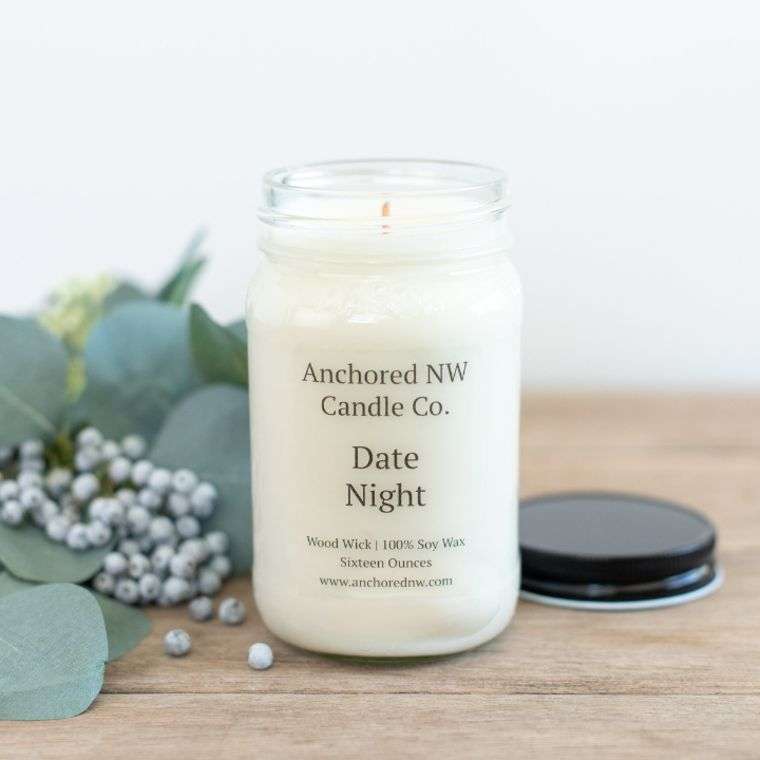 Mason Jar Soy Candle - Date Night (16 oz.)