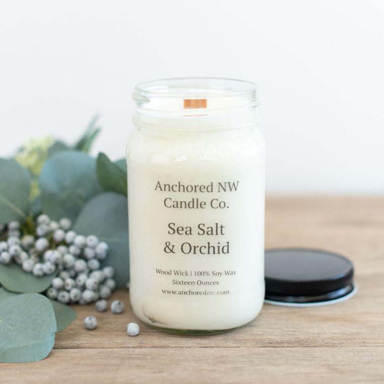 Mason Jar Soy Candle - Sea Salt & Orchid (16 oz.)