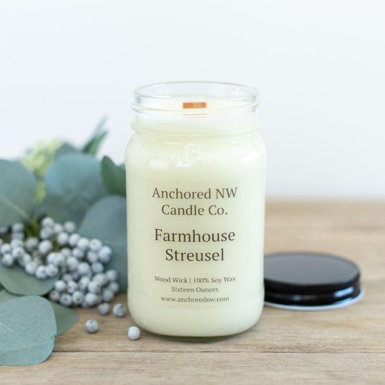 Mason Jar Soy Candle - Farmhouse Streusel (16 oz.)