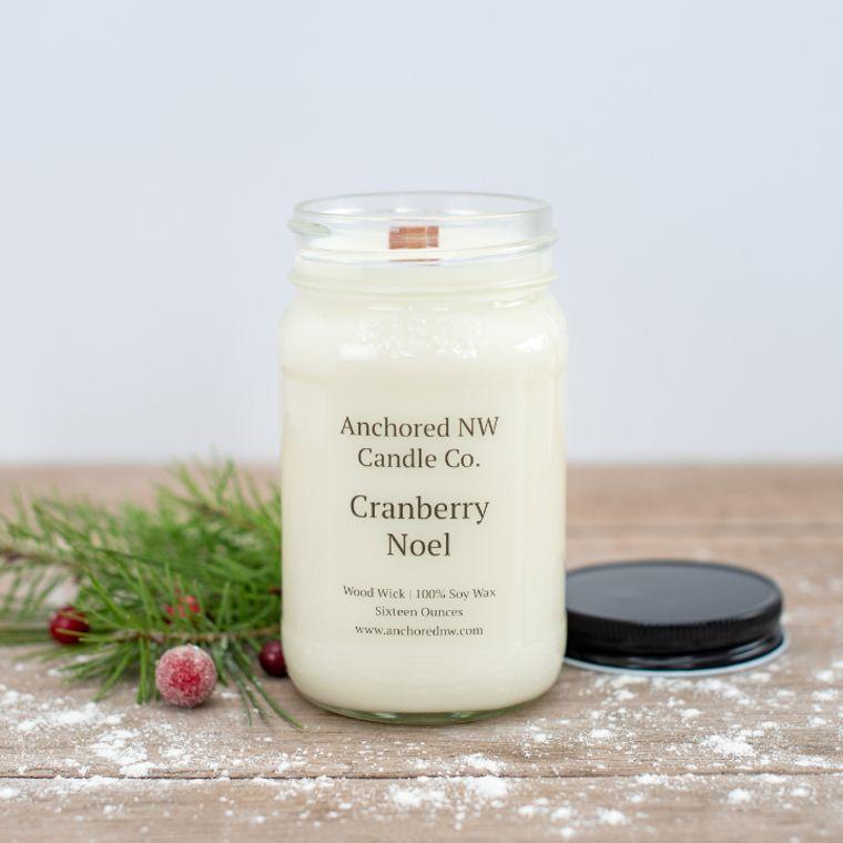 Mason Jar Soy Candle - Cranberry Noel (16 oz.)