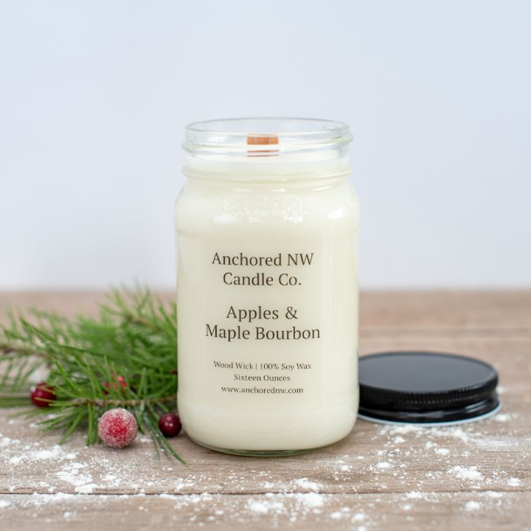 Mason Jar Soy Candle - Apples & Maple Bourbon (16 oz.)