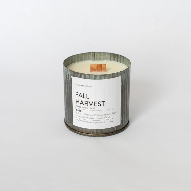 Fall Harvest - Rustic Vintage Wood Wick Candle
