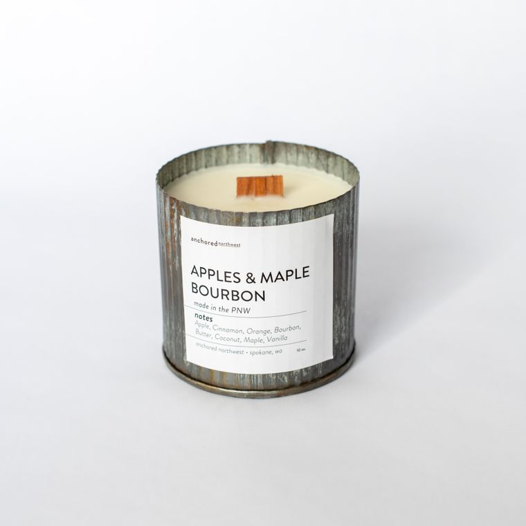Apples & Maple Bourbon - Rustic Vintage Wood Wick Candle