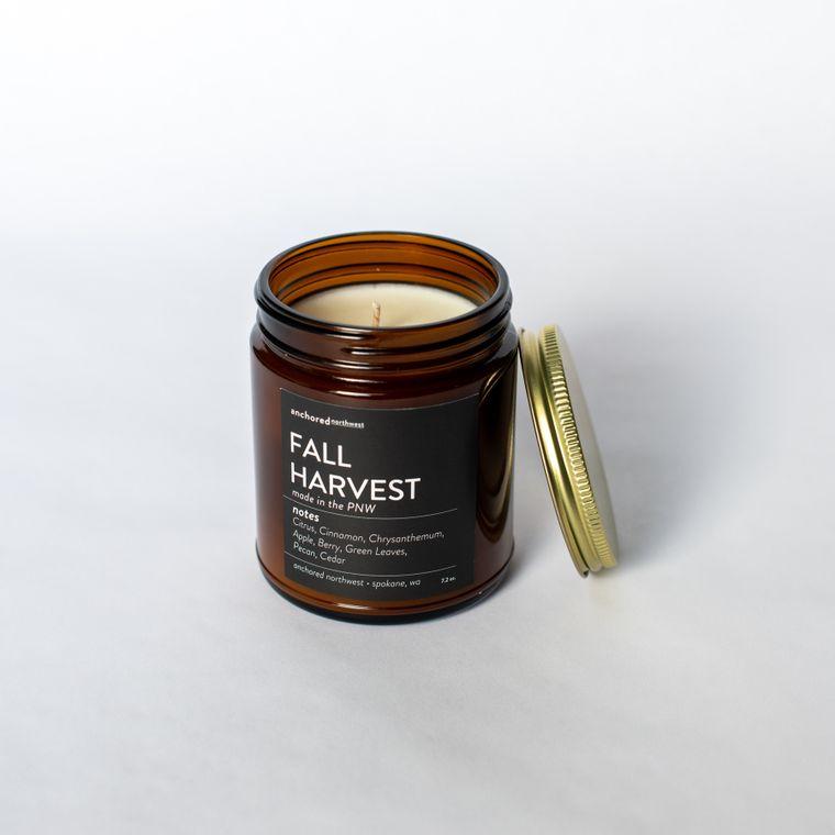 Fall Harvest - Amber Jar w/ Cotton Wick