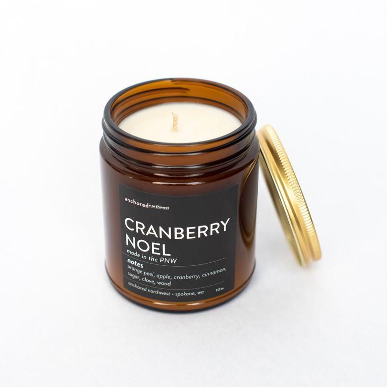 Cranberry Noel - Amber Jar w/ Cotton Wick