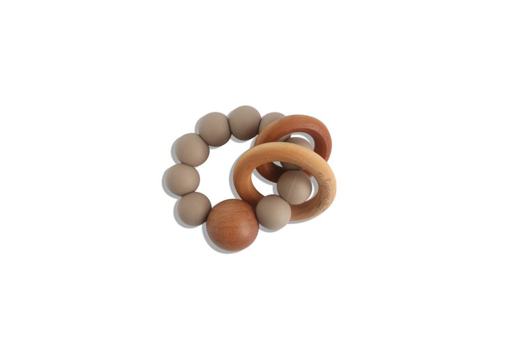 CADEN | SILICONE + WOOD TEETHER - CAPPUCCINO