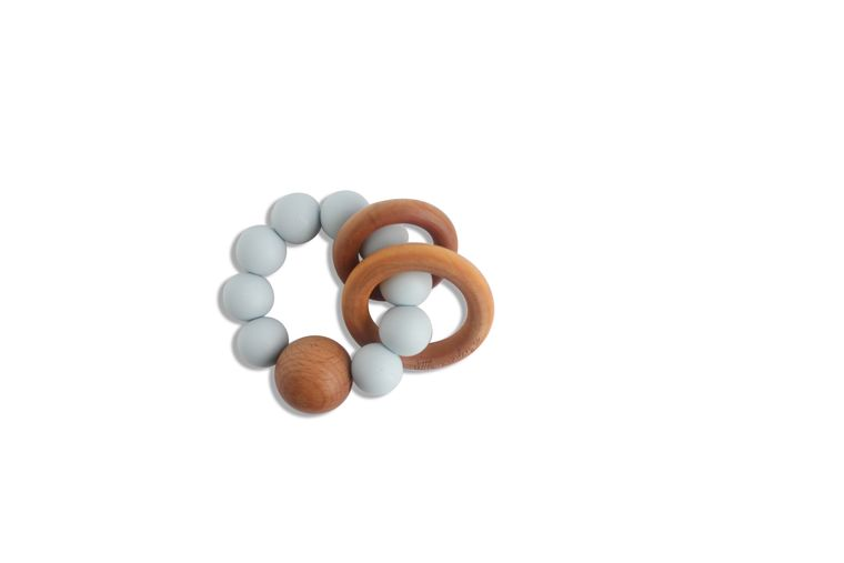CADEN | SILICONE + WOOD TEETHER - ICY BLUE