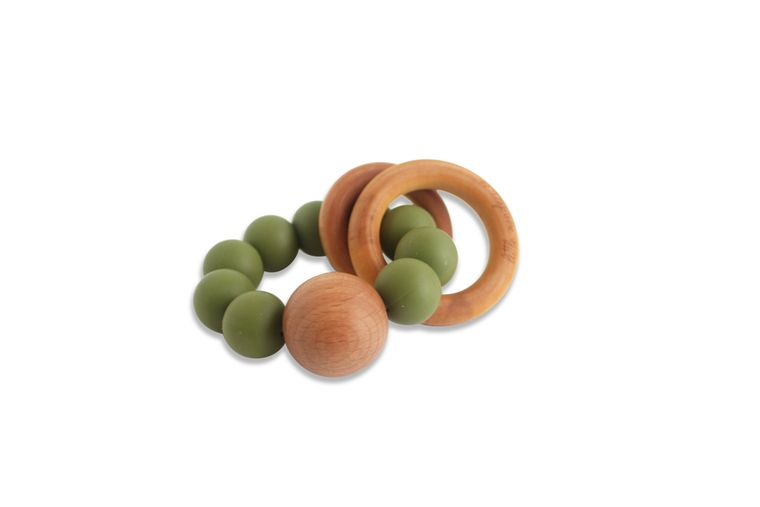 CADEN | SILICONE + WOOD TEETHER - OLIVE