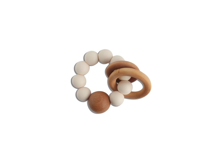 CADEN | SILICONE + WOOD TEETHER - IVORY