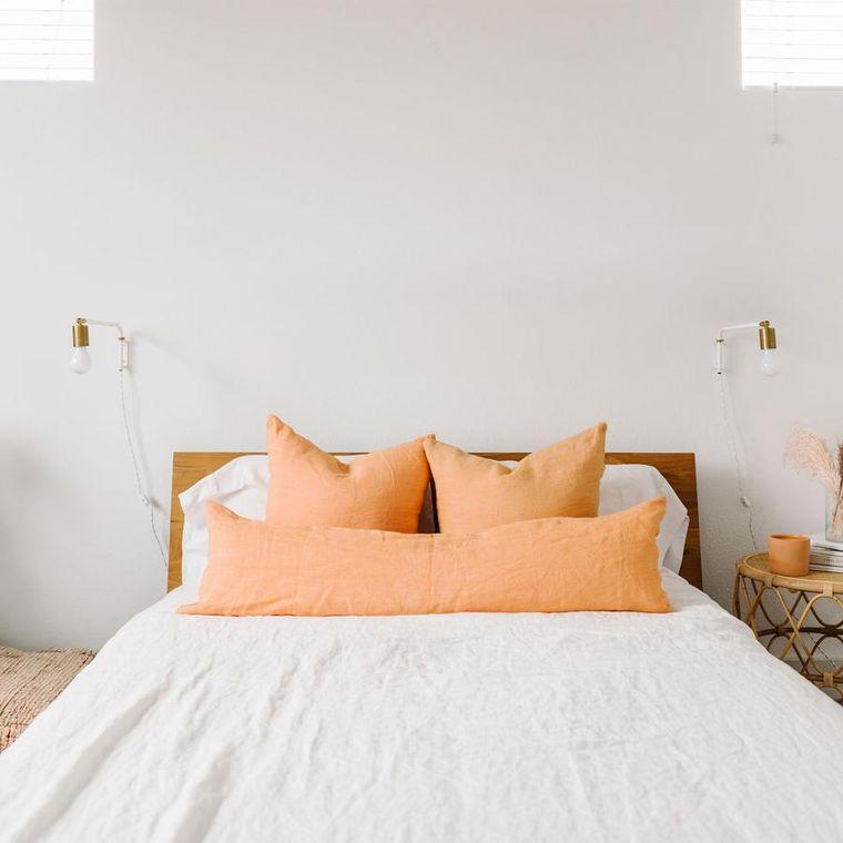 Linen Euro Pillow w/ Down Insert- Bleached Apricot