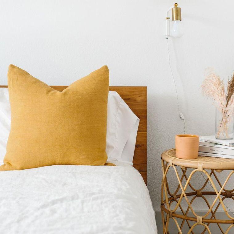 Linen Euro Pillow w/ Down Insert- Mustard