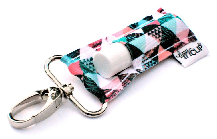 Salmon Mint Triangles LippyClip Lip Balm Holder
