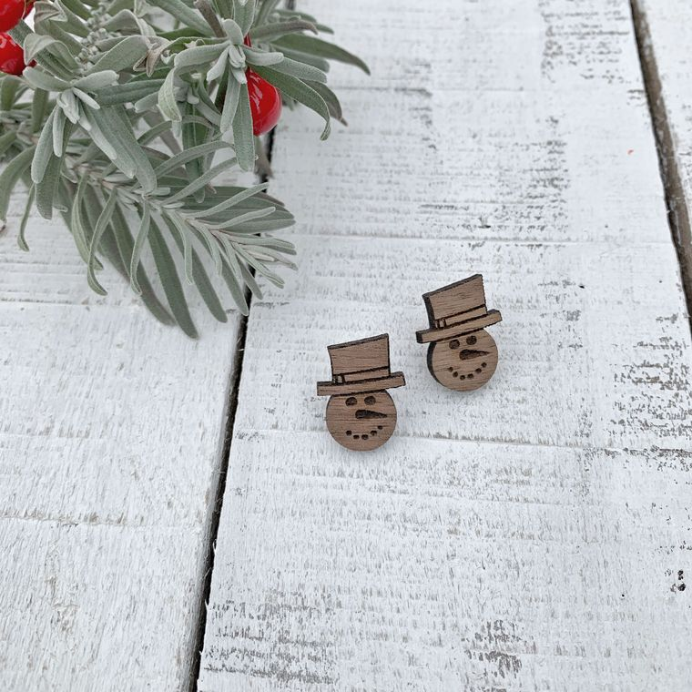 Snowman Walnut Wood Stud Earrings, Holiday, Christmas Earrings
