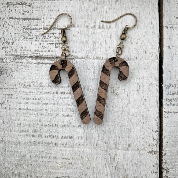 Candy Cane Walnut Wood Earrings, Holiday, Christmas Earrings