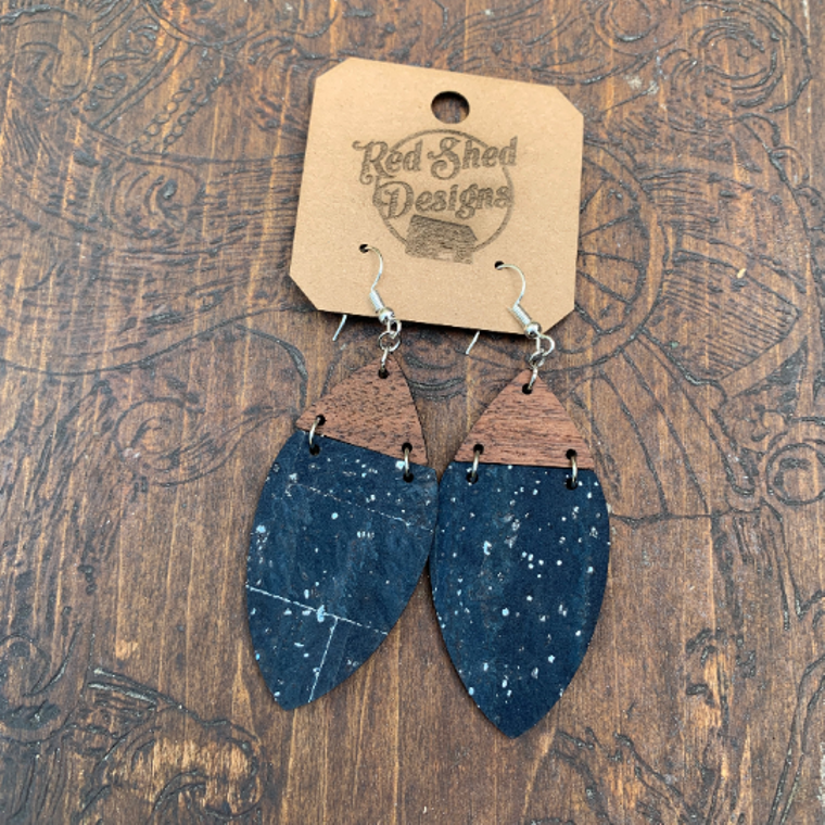 Boho Navy Cork & Walnut Wood Earrings with Silver Accents - Cork Collection