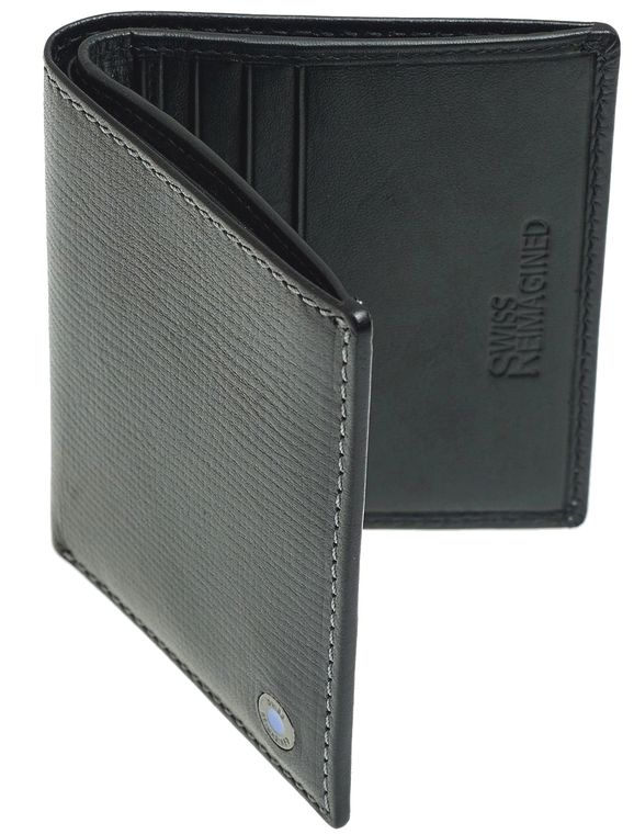 SWISS REIMAGINED Mens RFID Billfold Wallet - Leather - 6 Credit Cards - Black
