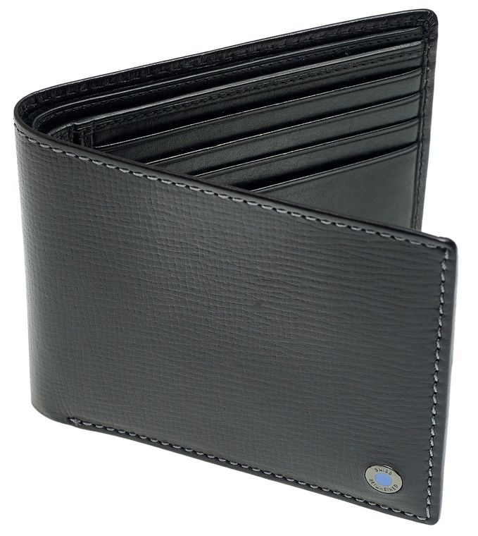 SWISS REIMAGINED Mens RFID Billfold Leather Wallet - 2 Section - 8 Cards - Black