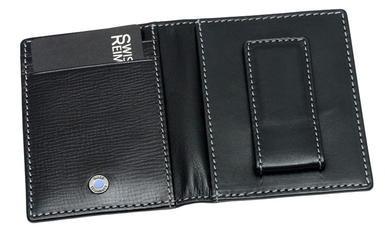SWISS REIMAGINED Mens RFID Leather Wallet Magnetic Money Clip - 6 Cards - Black