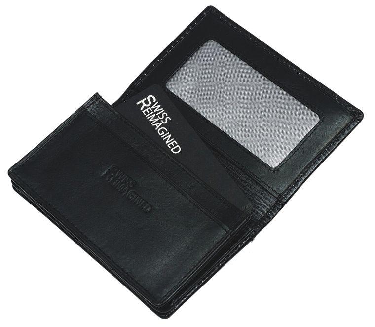 SWISS REIMAGINED Mens RFID Leather Wallet Business & Credit Card Holder - Black