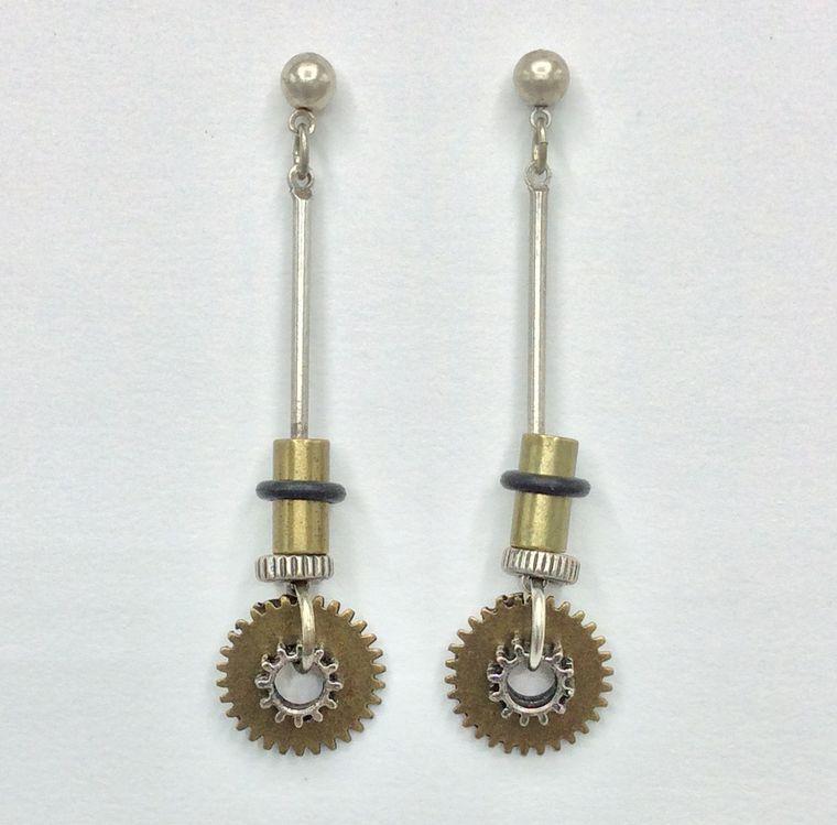 Gear Drop Earrings
