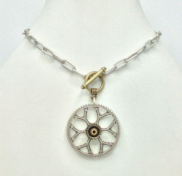 Gear Drop Toggle Necklace