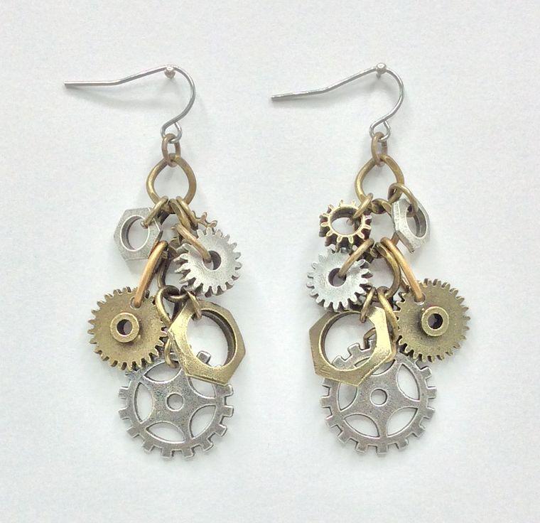 Gear Cluster Earrings