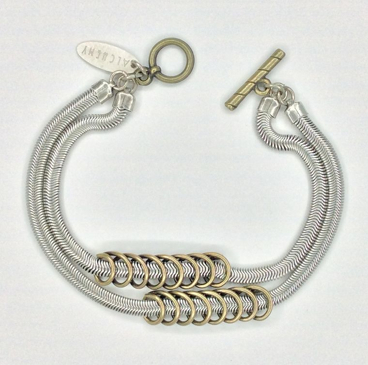Snake and Coil Toggle Bracelet