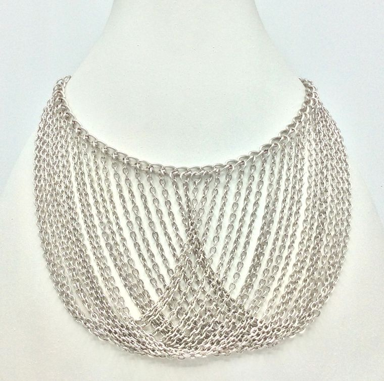 Chain Bib Necklace Sil or Brass