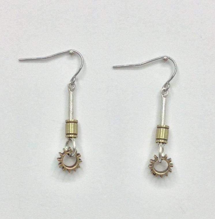 Tiny Gear Dangle Earrings