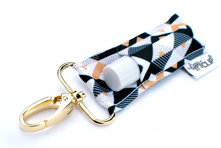 Black and Gold Triangles LippyClip Lip Balm Holder