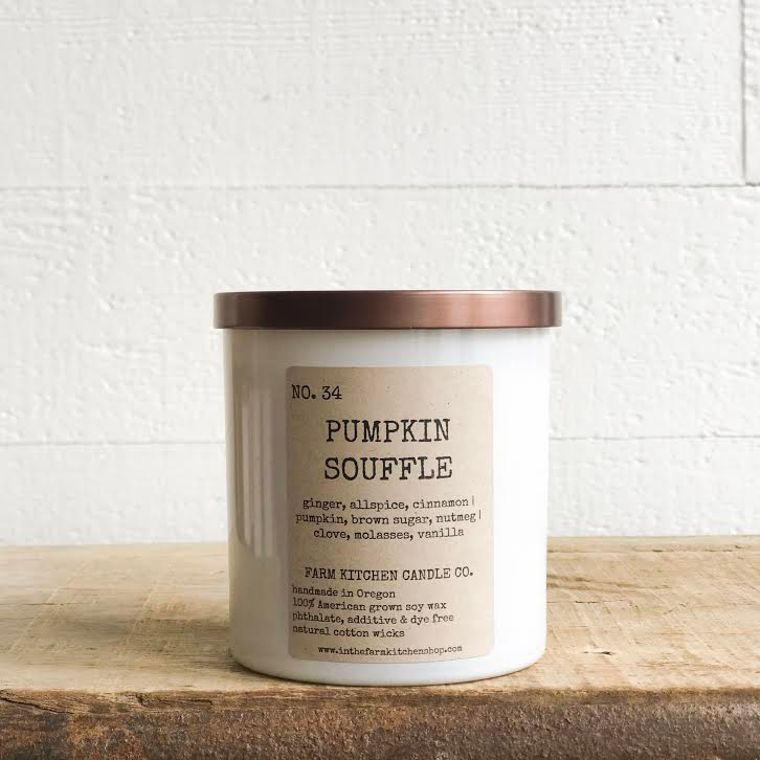 NEW FALL!  Pumpkin Souffle soy candle- white