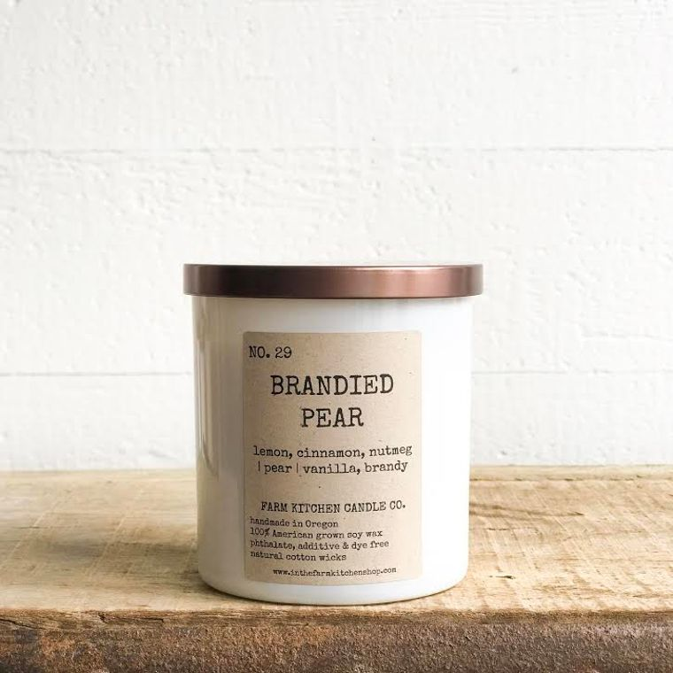 NEW FALL!  Brandied Pear soy candle- white