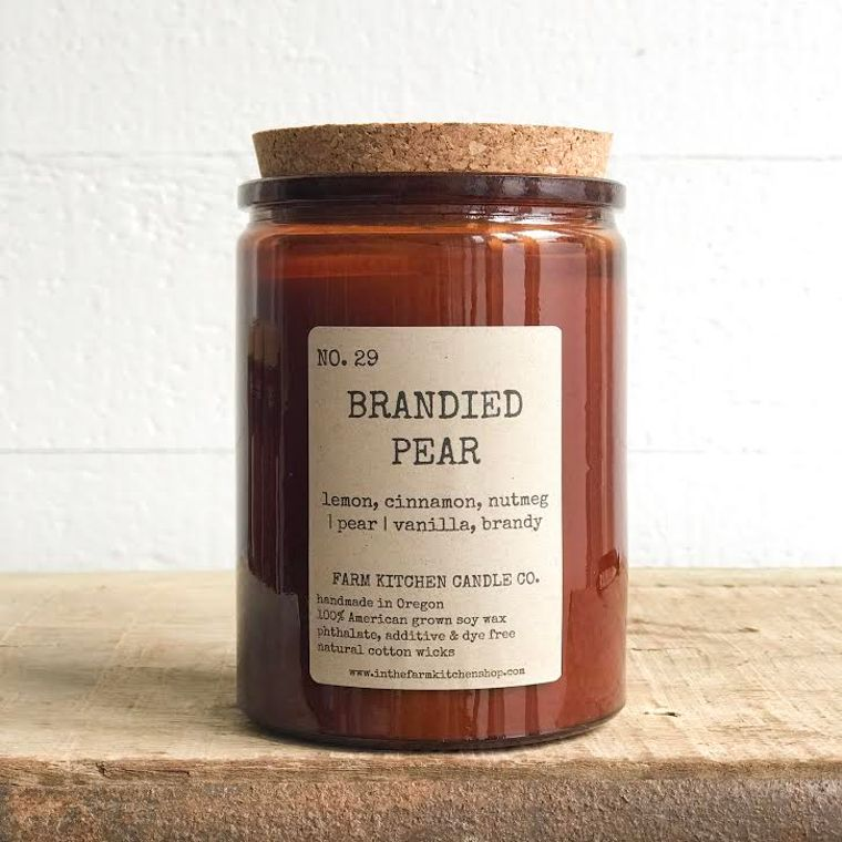 NEW FALL!  Brandied Pear soy candle- amber