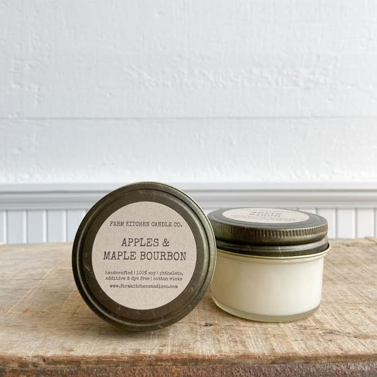 NEW FALL!  Apples & Maple Bourbon soy candle- mini