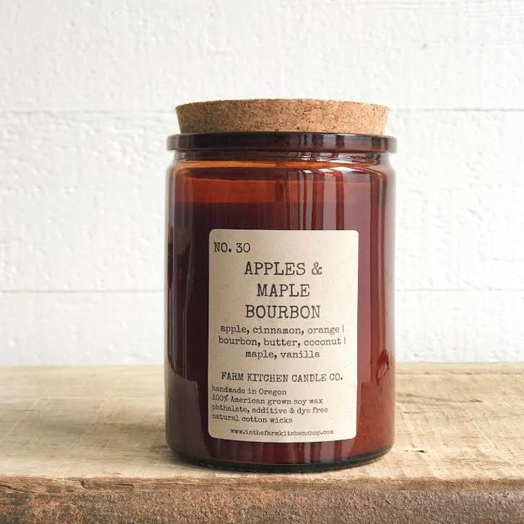 NEW FALL!  Apples & Maple Bourbon soy candle- amber