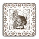 Chestnut Chinoiserie Thanksgiving Coasters (set of 24) in Gift Box