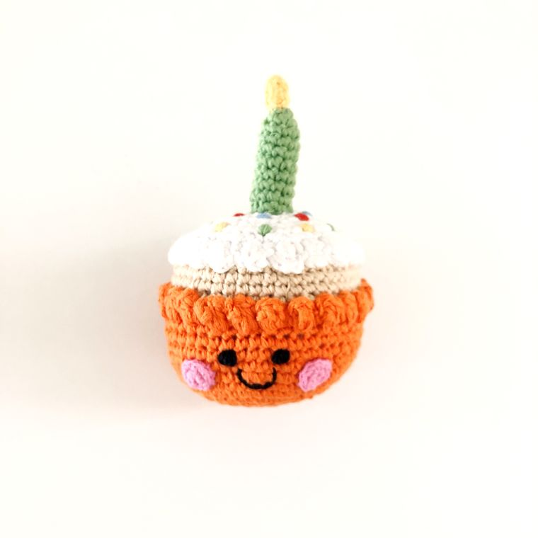 Cupcake Rattle with Candle - Orange