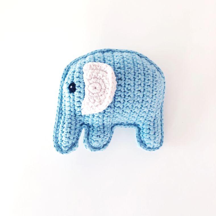 Organic Elephant Rattle - Blue
