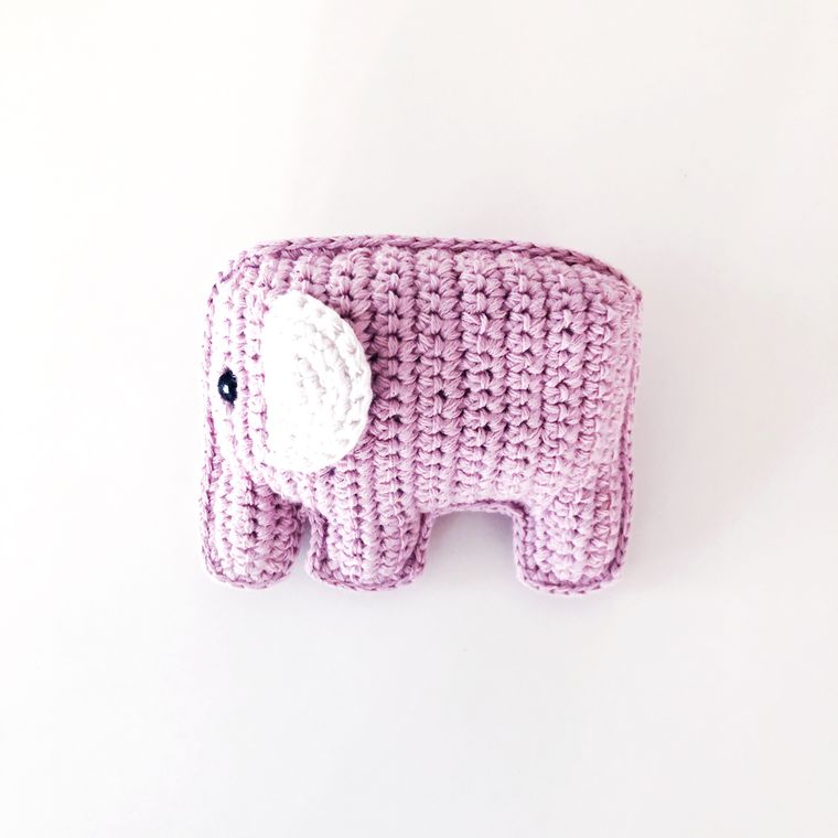 Organic Elephant Rattle - Pink