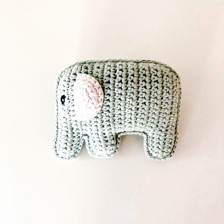 Organic Elephant Rattle - Teal