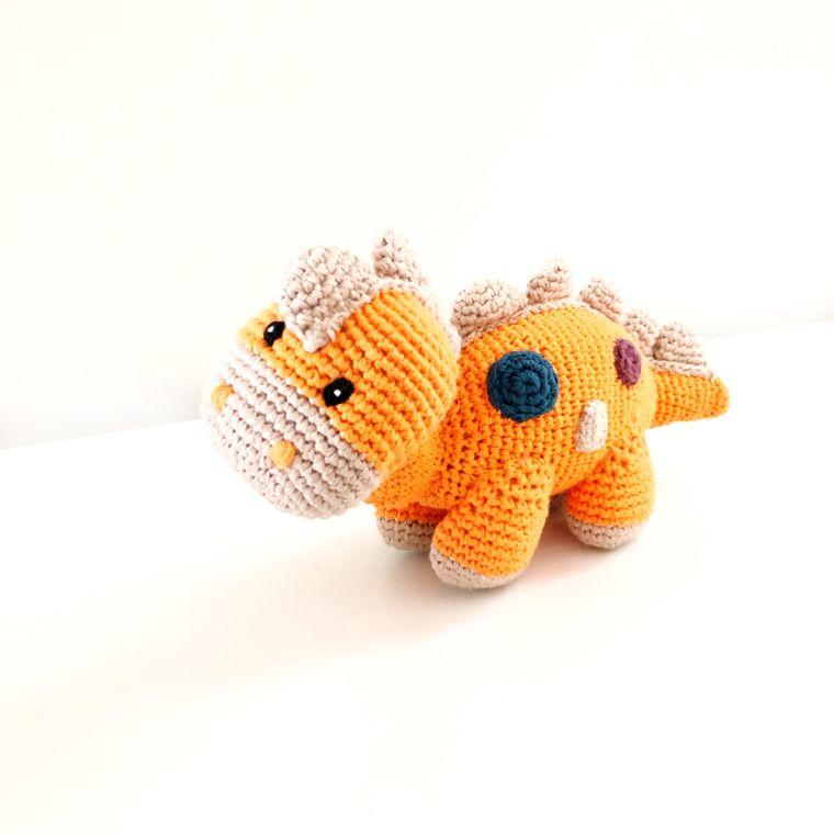 Organic Dino Rattle - Soft Orange