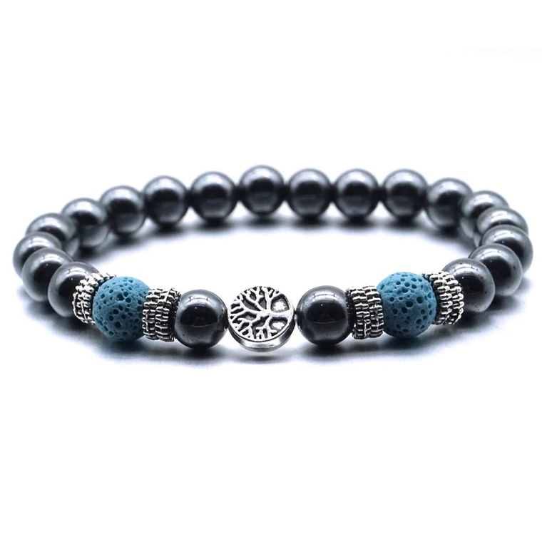 Light Blue Tree of Life Lava Stone Metal Bracelet