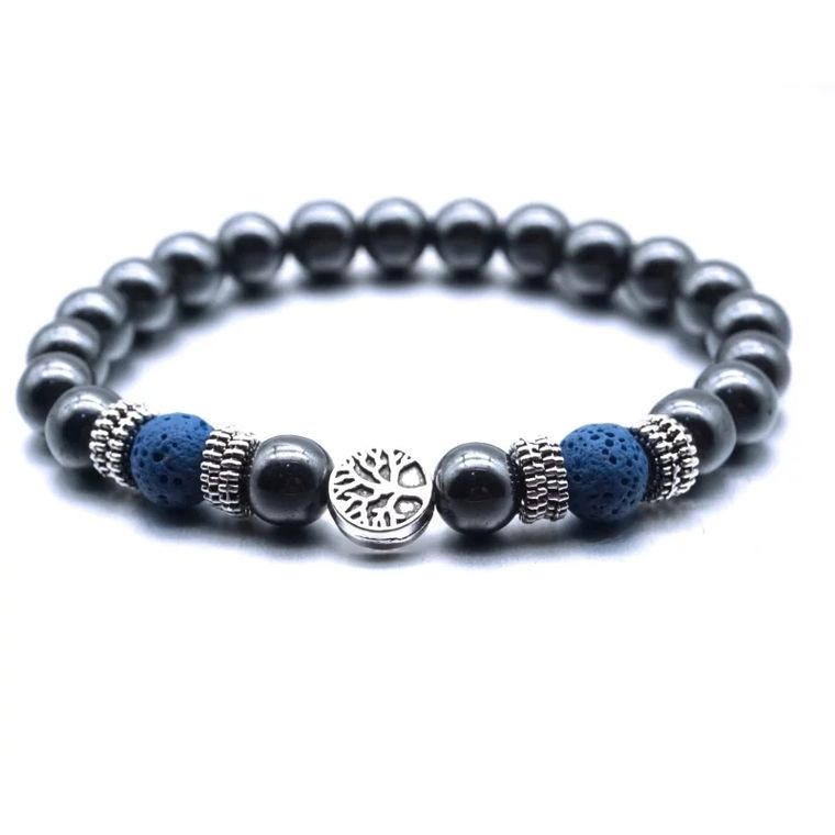 Dark Blue Tree of Life Lava Stone Metal Bracelet